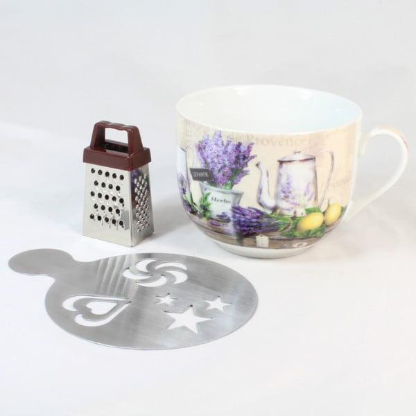 Cană din ceramică cu răzătoare și suport Dakls Violet, 420ml
