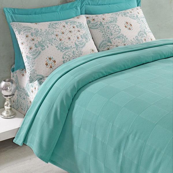 Sada přehozu přes postel, prostěradla a 2 povlaků Ariete Green, 200x235 cm