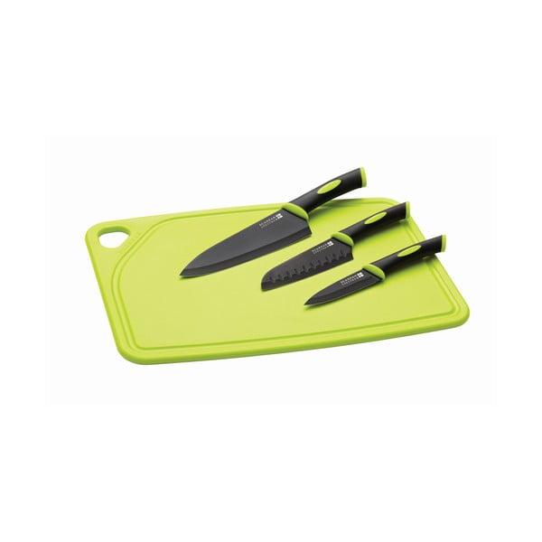 Set prkénka s krájecím, kuchyňským a santoku nožem