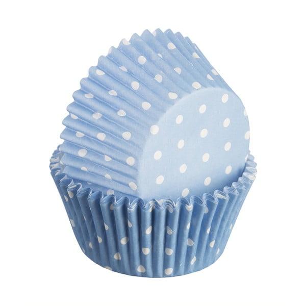 Sada 75 formiček na cupcakes Polka, světle modrá