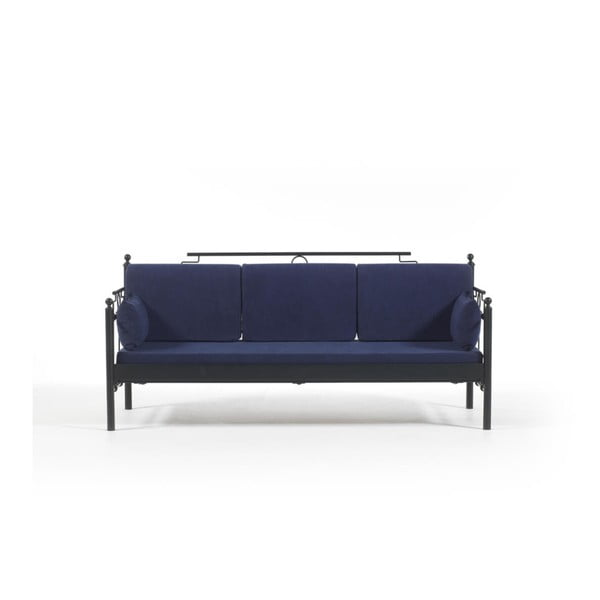 Canapea cu 3 locuri de grădină Halkus, 76 x 209 cm, albastru-negru