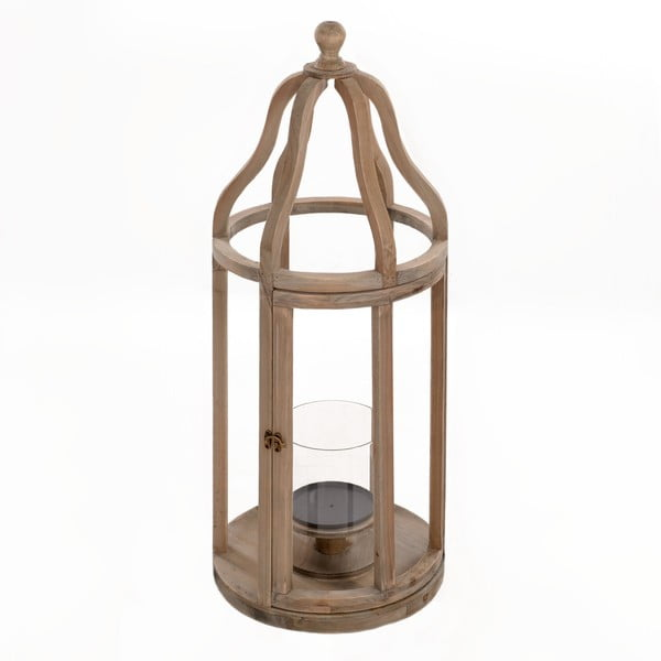 Dřevěná lucerna Beige, 32x83 cm