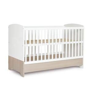 Pătuț alb pentru copii cu sertar, panou lateral mobil și bandă de protecție  Faktum Poppi, 70 x 140 cm