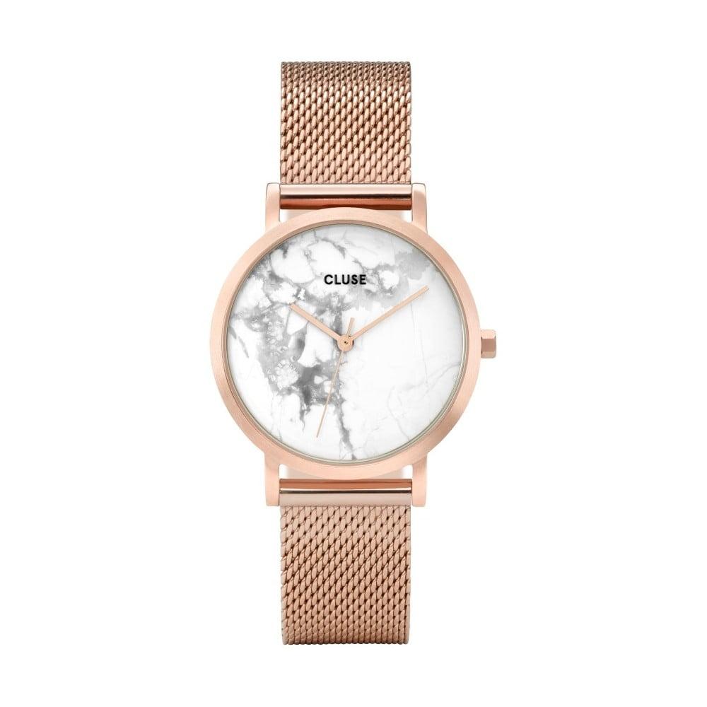 Dámské hodinky z nerezové oceli v barvě růžového zlata s mramorovým ciferníkem Cluse La Roche Petite