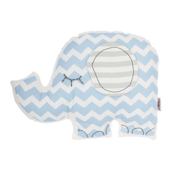 Modrý dětský polštářek s příměsí bavlny Apolena Pillow Toy Elephant, 34 x 24 cm