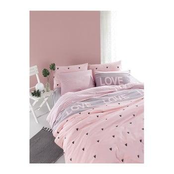 Lenjerie de pat cu cearșaf din bumbac ranforce, pentru pat dublu Mijolnir Romona Lilac, 160 x 220 cm