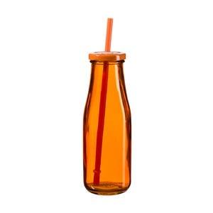 Tmavě oranžová lahev s víčkem a brčkem SUMMER FUN II BUNT, 440ml