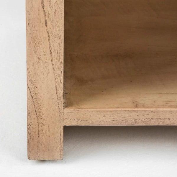 Světle hnědý dřevěný noční stolek se šuplíkem Thai Natura, 50 x 55 cm