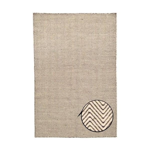 Ručně tkaný koberec Kilim Chevron White/Brown, 98x160 cm