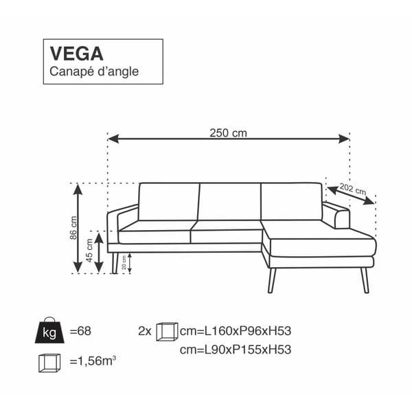 Tmavě šedá rohová pohovka Windsor & Co Sofas Vega, pravý roh