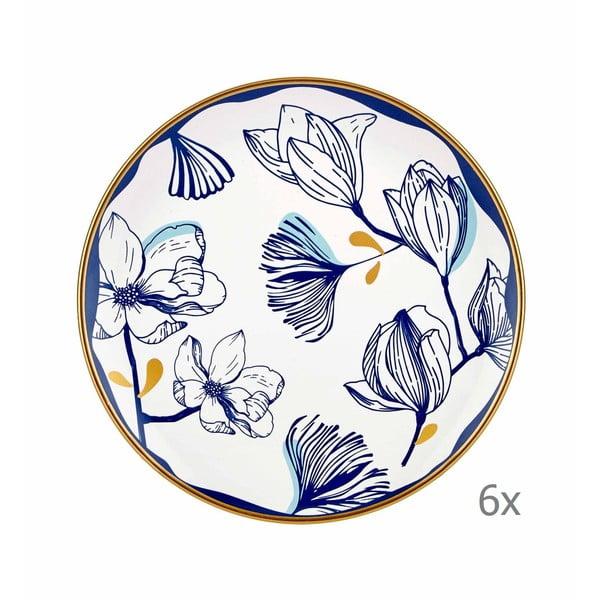 Sada 6 bílých porcelánových dezertních talířů s modrými květy Mia Bleu Pasta, ⌀ 19 cm