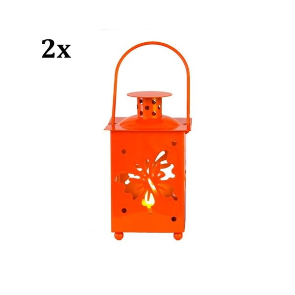 Set dvou oranžových luceren s LED žárovkou