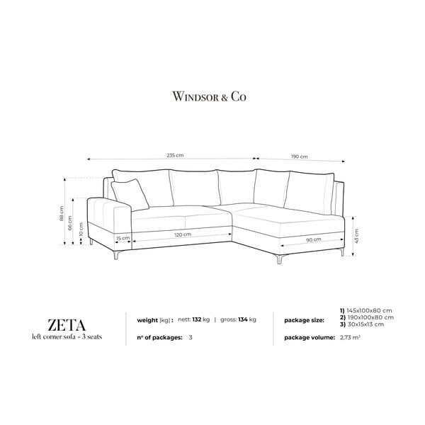 Béžová rozkládací rohová pohovka Windsor & Co Sofas Zeta, pravý roh