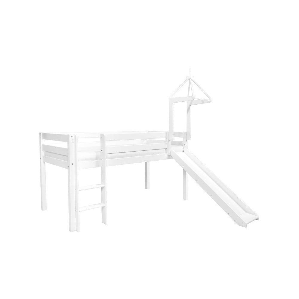 Bílá dětská postel z masivního bukového dřeva se skluzavkou Mobi furniture Tom, 200 x 90 cm
