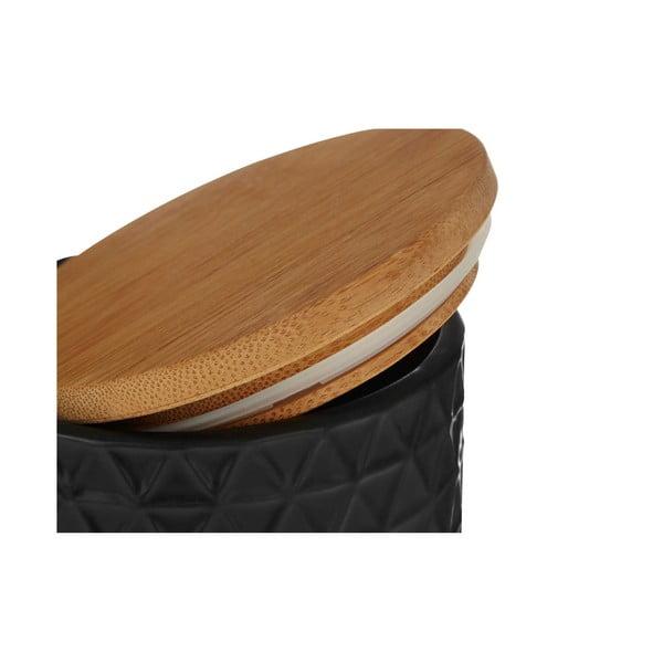 Černá dóza s bambusovým víkem Premier Housewares Black, ⌀10x15cm