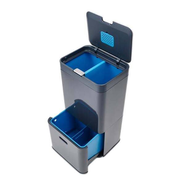 IntelligentWaste Totem szürke hulladékgyűjtő, 58 l - Joseph Joseph