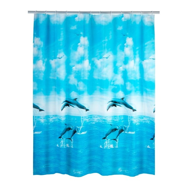 Modrý sprchový záves Wenko Dolphin, 180×200 cm
