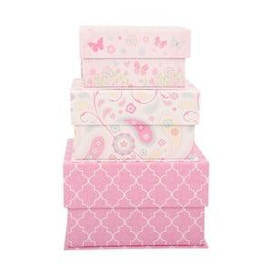Sada 3 úložných krabic Pink World