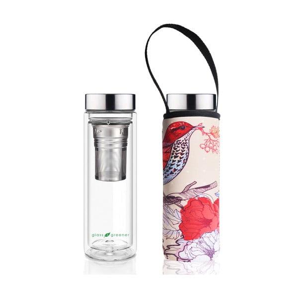 Butelka podróżna ze szkła borokrzemowego z pokrowcem i sitkiem BBBYO Bird, 500 ml