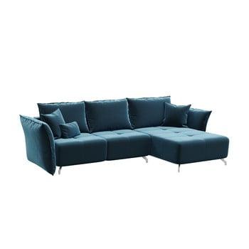 Canapea extensibilă Hermes, șezlon convertibil, albastru închis