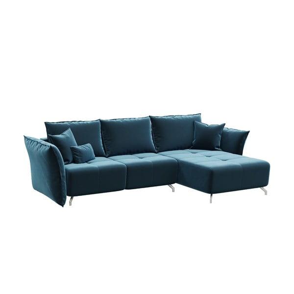 Tmavě modrá rozkládací pohovka devichy Hermes, konvertibilní roh