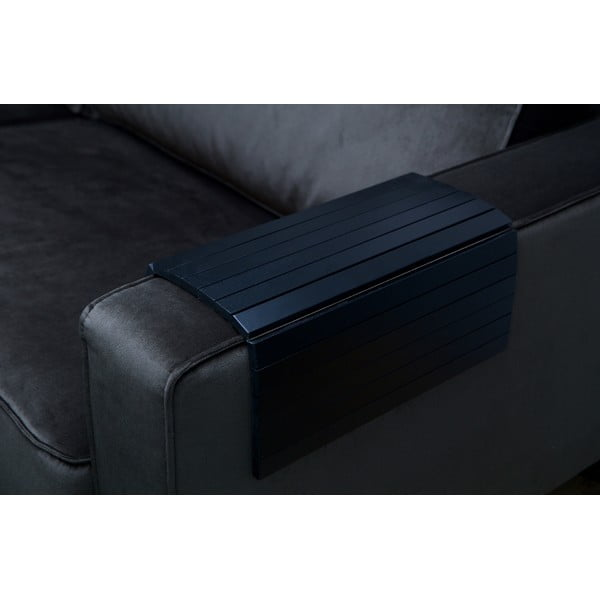 Čierna drevená podrúčka na pohovku WOOOD Tray XL