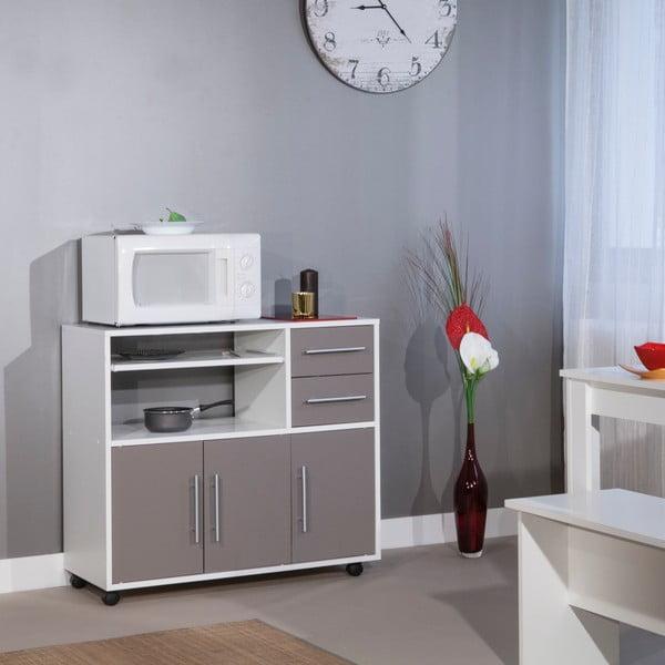 Šedý pojízdný kuchyňský úložný systém s policemi Symbiosis Marius