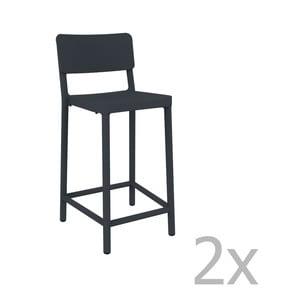 Sada 2 tmavě šedých barových židlí vhodných do exteriéru Resol Lisboa Simple, výška 92,2 cm
