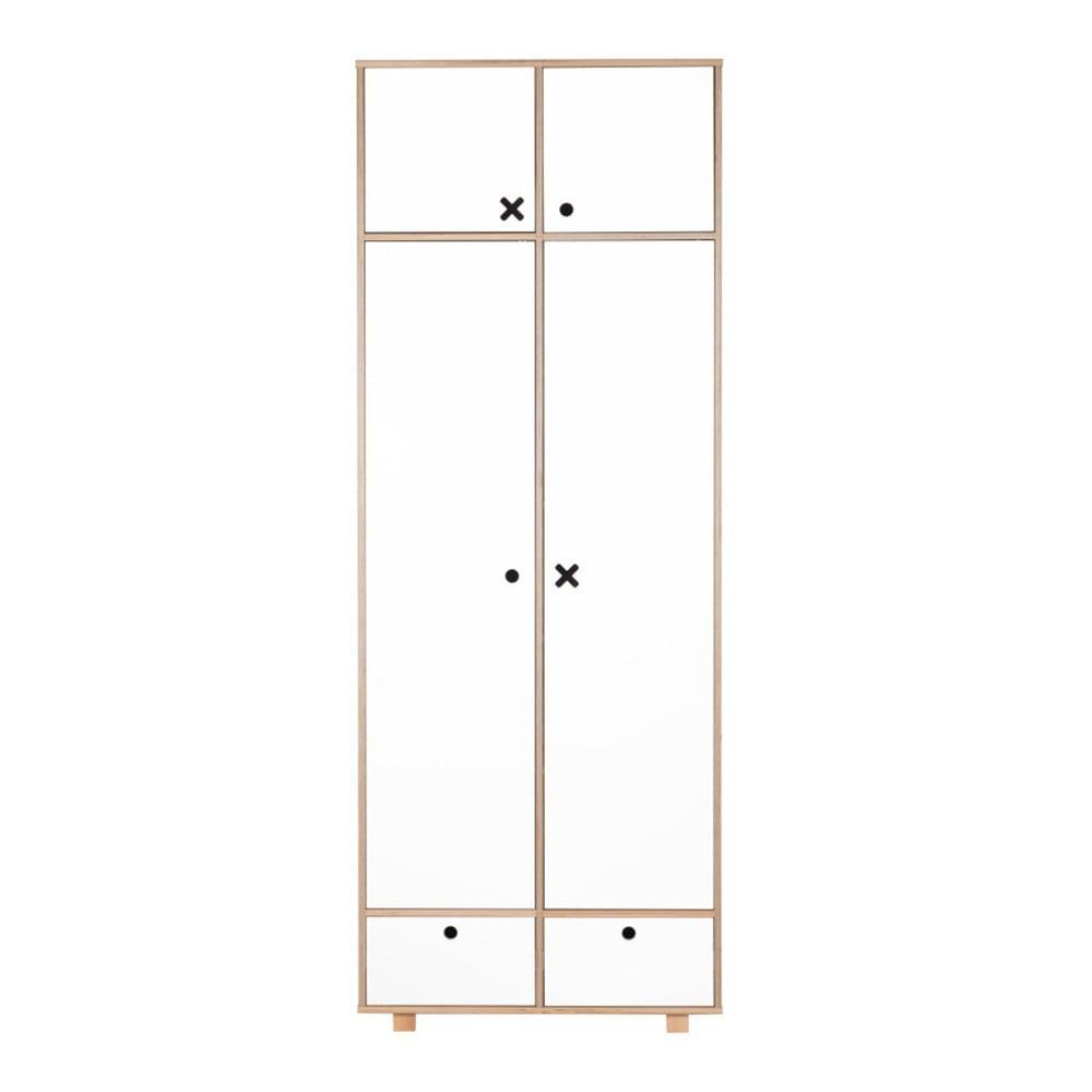 Bílá dvoudveřová šatní skříň Durbas Style