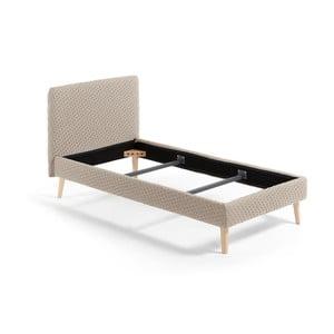 Béžová jednolůžková čalouněná postel La Forma Lydia Dotted, 190x90cm