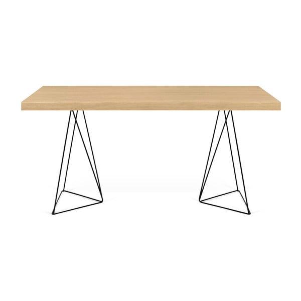 Trestles világosbarna asztal fekete lábakkal, hosszúság 180 cm - TemaHome