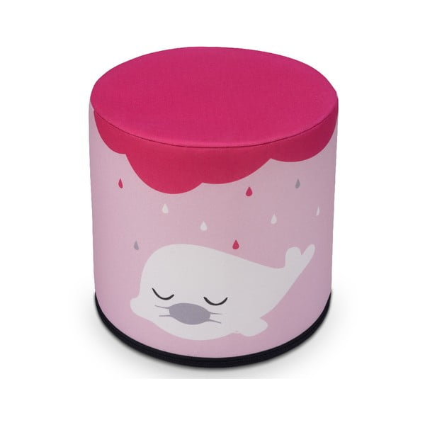 Puf pentru copii KICOTI Seal, 40 x 40 cm, roz