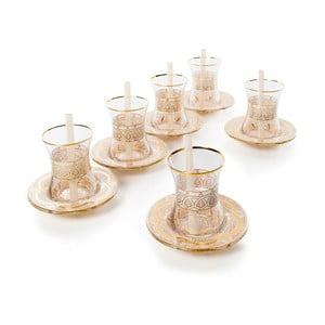 18dílný skleněný čajový set ve zlaté barvě Oujda