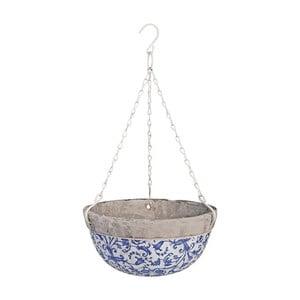Ghiveci suspendat din ceramică Esschert Design, albastru - alb, 2,4 l