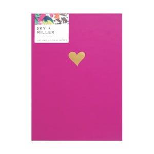 Růžový poznámkový blok se sadou lepících papírků Portico Designs Hearts, 60 stránek