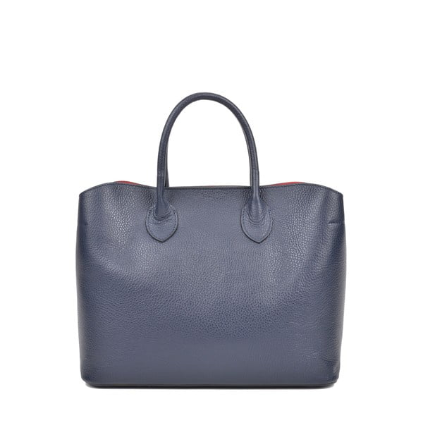 Tmavomodrá kožená kabelka s 3 vreckami Isabella Rhea