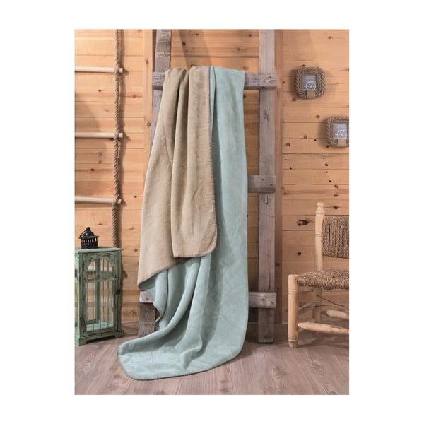 Zeleno-béžová deka Tray, 200x220cm