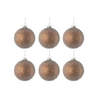 Set 6 globuri din sticlă pentru Crăciun J-Line Bauble, ø 8 cm, auriu imagine