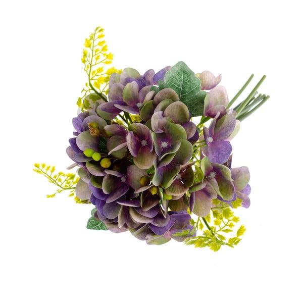 Fioletowy sztuczny kwiat dekoracyjny w stylu hortensji z paprocią Dakls