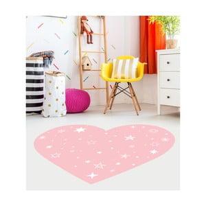 Růžový dětský koberec Floorart Heart, 43 x 50 cm