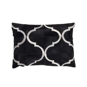 Kožený polštář Eclipse Black, 40x60 cm