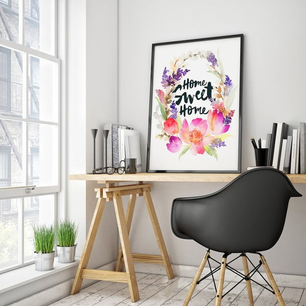 Plakát s květinami Home Sweet Home, 30 x 40 cm