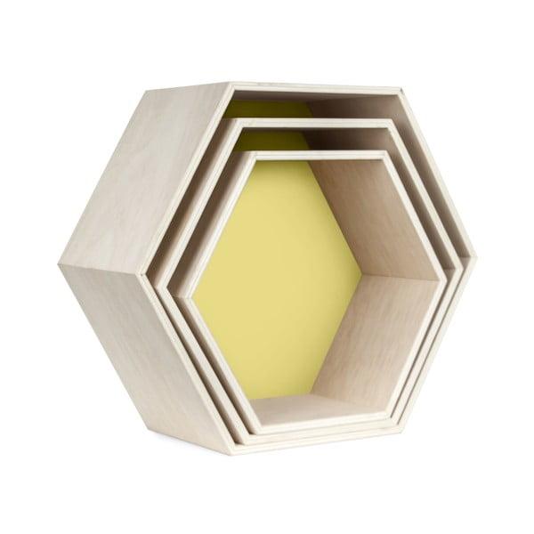 Sada 3 nástěnných poliček Hexagon, žlutá