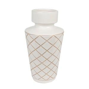 Bílá ručně vyrobená váza PT LIVING Carved Diamonds