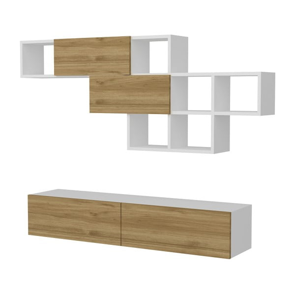 Komplet białej szafki pod TV i półki z detalami z dekorem drewna orzecha Garetto Aristo