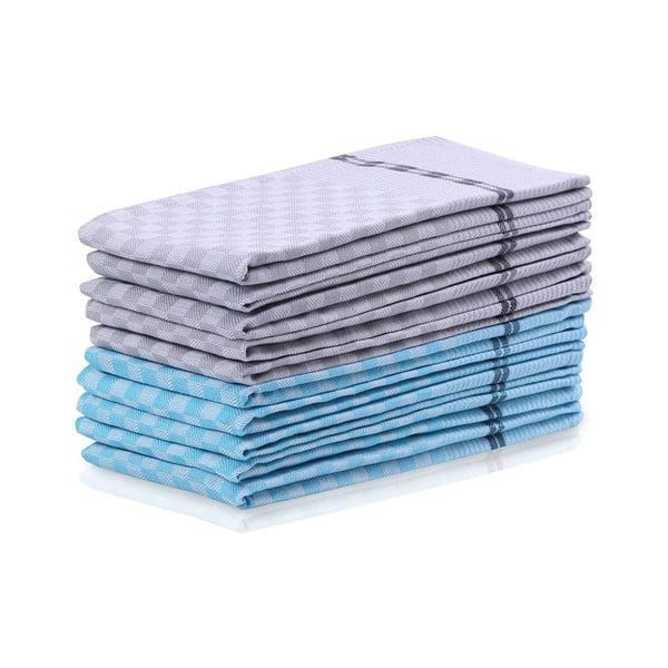 Checkered 5 kék és 5 szürke pamut konyharuha szett - DecoKing