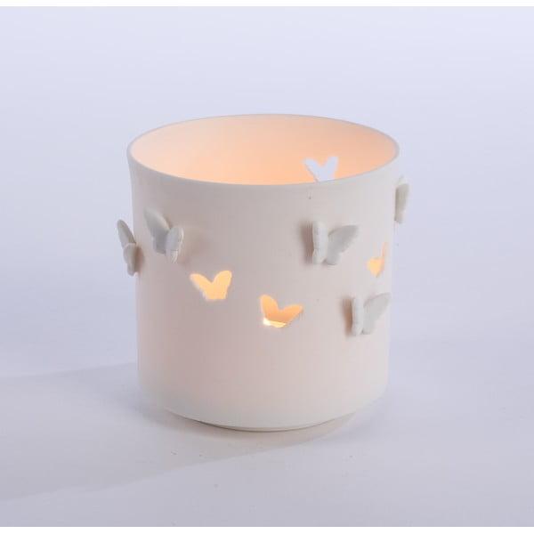 Porcelánový svícen Butterflies 9x9 cm, bílý