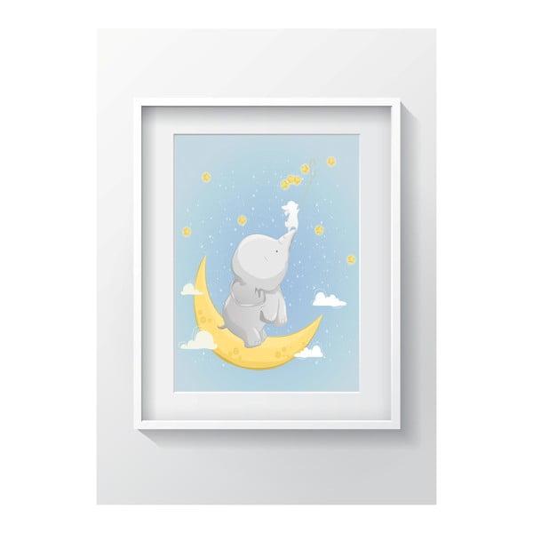 Nástenný obraz OYO Kids Elephant On The Moon, 24 x 29 cm