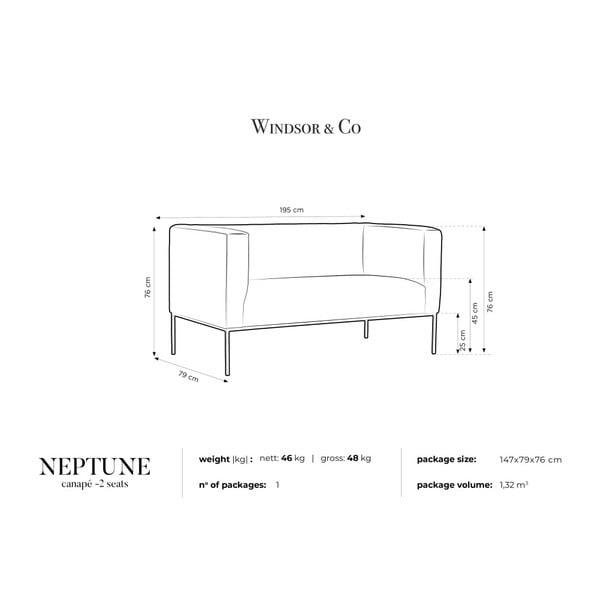 Béžová sametová dvoumístná pohovka Windsor & Co Sofas Neptune