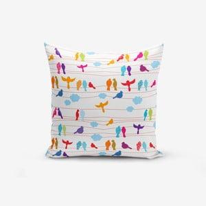 Povlak na polštář s příměsí bavlny Minimalist Cushion Covers Colorful Bird, 45 x 45 cm